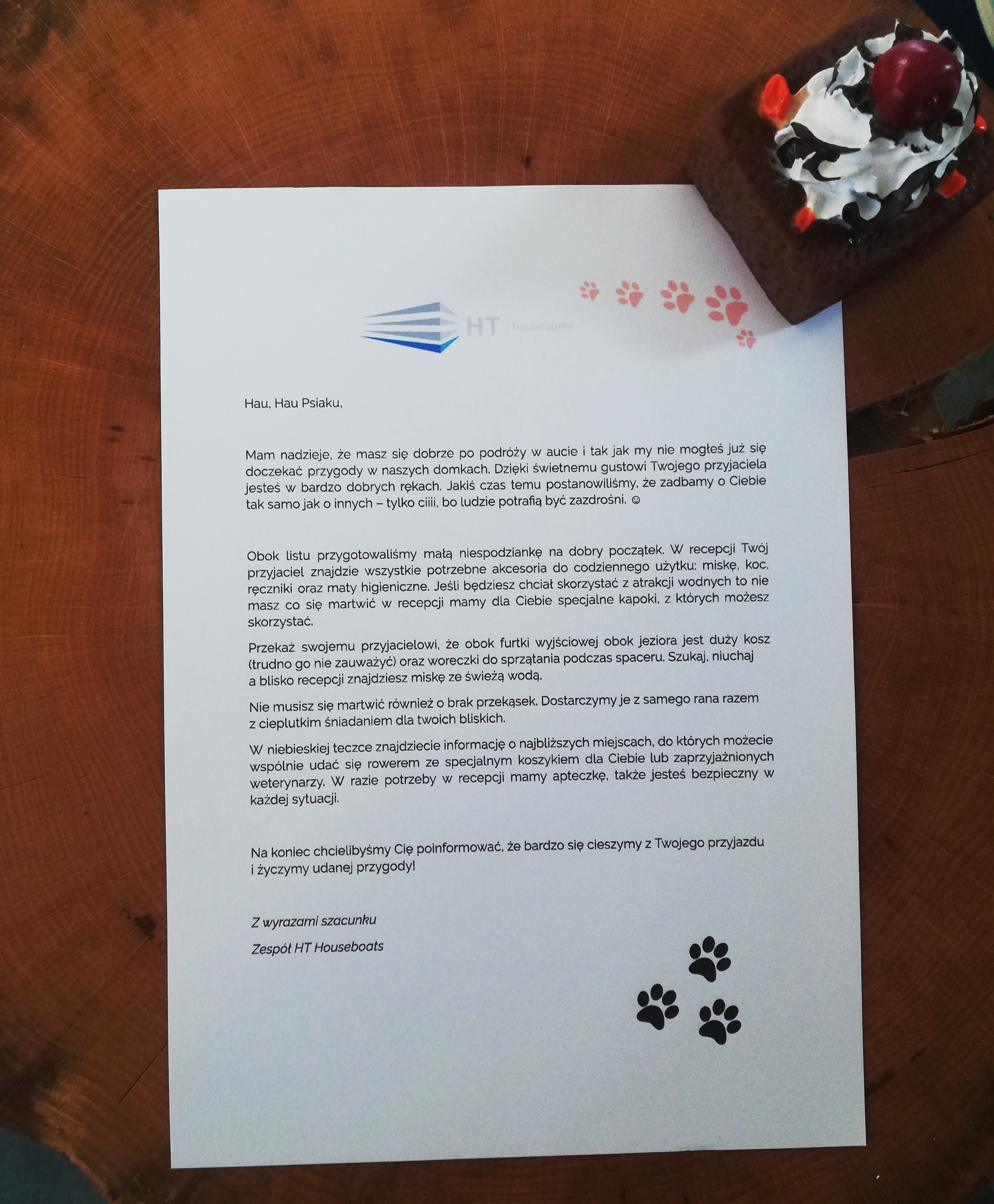 List powitalny dla psa